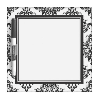Tradtional Black and White Damask Dry-Erase Board
