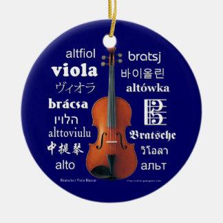 Traducciones de la viola adorno navideño redondo de cerámica