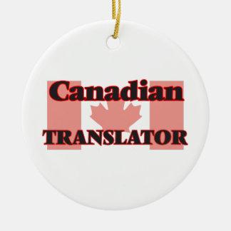 Traductor canadiense adorno navideño redondo de cerámica