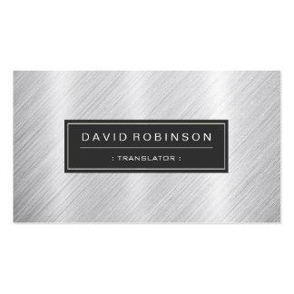 Traductor - mirada cepillada moderna del metal tarjetas de visita