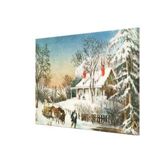 Traer a casa los registros, paisaje del invierno impresiones en lienzo estiradas