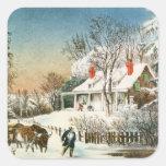 Traer a casa los registros, paisaje del invierno pegatina cuadradas personalizadas