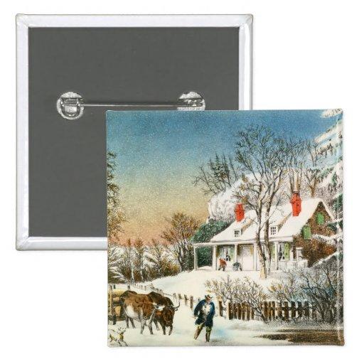 Traer a casa los registros, paisaje del invierno pins