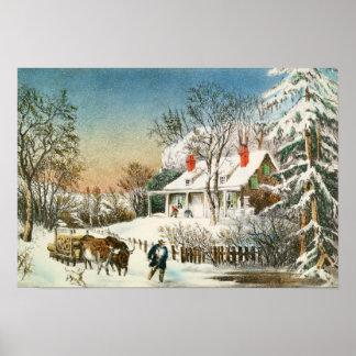 Traer a casa los registros, paisaje del invierno póster