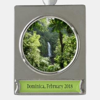Trafalgar Falls Tropical Rainforest Photography Silver Plated Banner Ornament