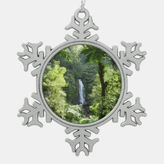 Trafalgar Falls Tropical Rainforest Photography Snowflake Pewter Christmas Ornament