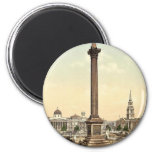 Trafalgar Square and National Gallery, London, Eng 2 Inch Round Magnet