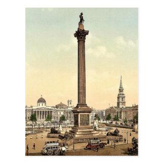 Trafalgar Square and National Gallery, London, Eng Postcard