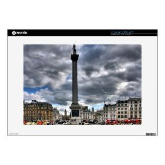 "Trafalgar Square London, Cloudy Sky, England 15"" Laptop Decal"