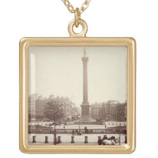 Trafalgar Square, London (sepia photo) Gold Plated Necklace
