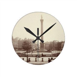 Trafalgar Square, London (sepia photo) Round Clock