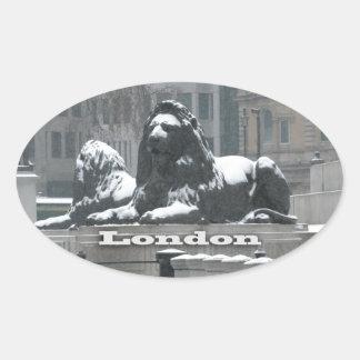 Trafalgar Square London - Snow Oval Sticker