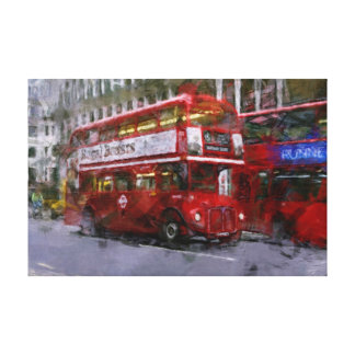 Trafalgar Square Red Double-decker Bus, London, UK Canvas Print