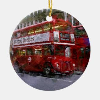 Trafalgar Square Red Double-decker Bus, London, UK Ceramic Ornament