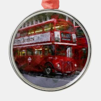 Trafalgar Square Red Double-decker Bus, London, UK Metal Ornament