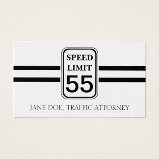 Traffic Attorney Lawyer Law Speed Limit Sign Business Card