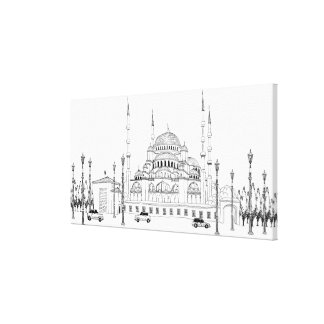 Traffic by mosque canvas print