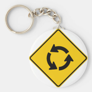 Traffic Circle Highway Sign Keychains