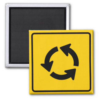 Traffic Circle Highway Sign 2 Inch Square Magnet
