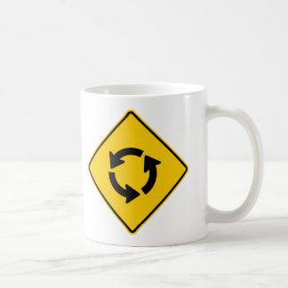 Traffic Circle Highway Sign Classic White Coffee Mug