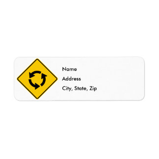 Traffic Circle Highway Sign Return Address Label