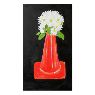 Traffic Cone and Flowers Business Card