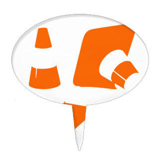Traffic cone safety pylon  two Whitch hat marker 2 Cake Topper
