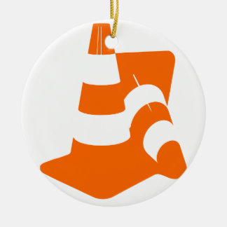 Traffic cone two safety pylons ceramic ornament