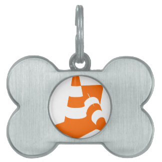 Traffic cone two safety pylons pet name tag