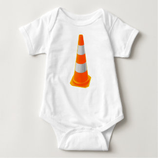 Traffic Cone with Grey Stripes Baby Bodysuit