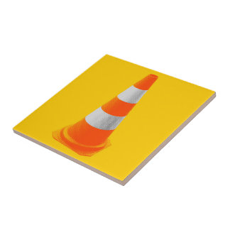 Traffic Cone with Grey Stripes Ceramic Tile