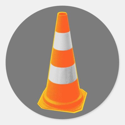 Traffic Cone with Grey Stripes Classic Round Sticker