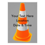 Traffic Cone with Grey Stripes Personalized Invitations