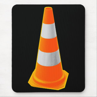 Traffic Cone with Grey Stripes Mouse Pad