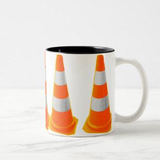 Traffic Cone with Grey Stripes Coffee Mugs