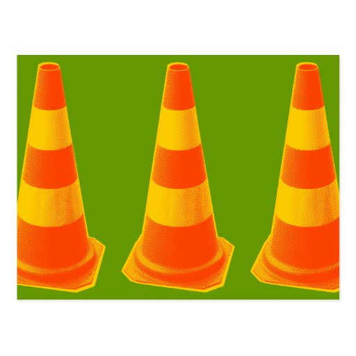 Traffic Cone with Yellow Stripes Postcard