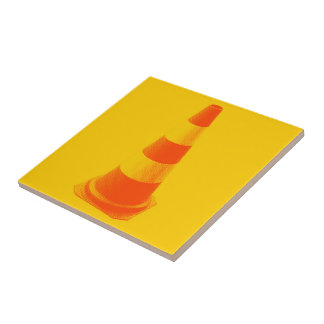 Traffic Cone with Yellow Stripes Tiles