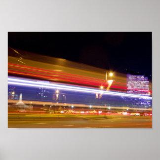 Traffic in Philadelphia at Night Poster