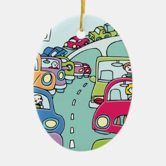Traffic Jam People Ceramic Ornament