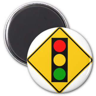 Traffic Light Ahead Highway Sign 2 Inch Round Magnet