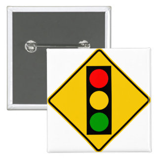 Traffic Light Ahead Highway Sign Button