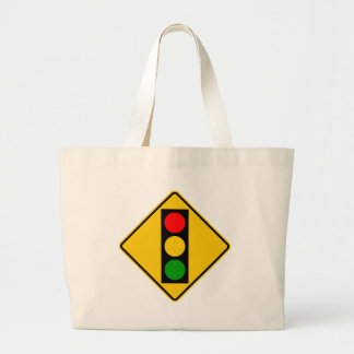 Traffic Light Ahead Highway Sign Tote Bag