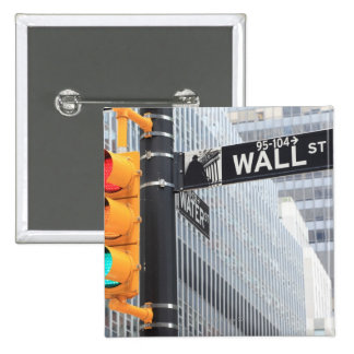Traffic Light and Wall Street Sign 2 Inch Square Button