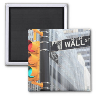 Traffic Light and Wall Street Sign 2 Inch Square Magnet