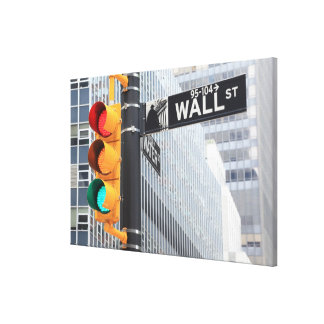 Traffic Light and Wall Street Sign Canvas Print