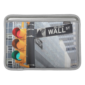Traffic Light and Wall Street Sign MacBook Sleeve