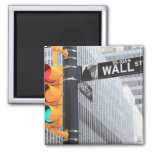 Traffic Light and Wall Street Sign Refrigerator Magnet