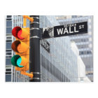 Traffic Light and Wall Street Sign Postcard