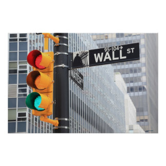 Traffic Light and Wall Street Sign Poster