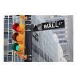 Traffic Light and Wall Street Sign Posters